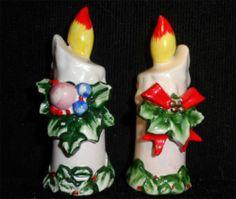 Vintage Lefton Christmas Candles Salt Pepper Shaker Japan 1960'S