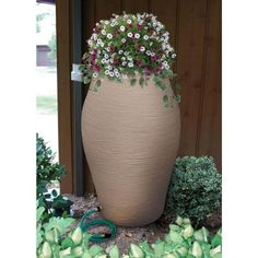 85 gallon rain barrel with planter top. Rain Barrel Kit, Rain Barrels, House Landscape, Backyard, Patio, Urn, Outdoor Spaces, Homesteading, Landscaping