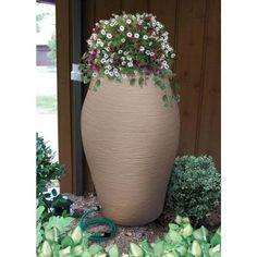 85 gallon rain barrel with planter top. Rain Barrel Kit, Rain Barrels, House Landscape, Backyard, Patio, Urn, Outdoor Spaces, Homesteading, Landscaping