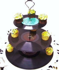 Custom Order for 6 Retro Record Dessert 3 Tier Pedestal Cake Cupcake Stand Recycle Rockabilly Wedding Birthday Lets Rock N Roll