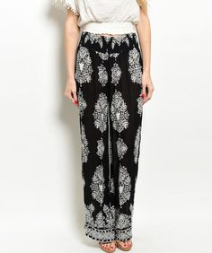 Shop the Trends Black & White Damask Palazzo Pants Printed Palazzo Pants, Printed Trousers, Fast Fashion, New Fashion, Black And White Pants, Black White, White Damask, Stretch Pants, Black Print