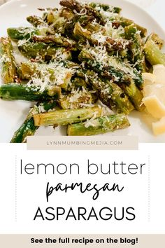 Do you love having asparagus during the spring and summer season? Asparagus is the perfect vegetable side dish for your dinner! This is a super easy-baked asparagus recipe that's delicious with lemon, butter, parmesan, garlic and cooked to perfection in the oven! Read the full recipe on Baked Lemon Butter Parmesan Asparagus on the blog now! #asparagusrecipe #asparagus #sidedish #vegetariansidedish Cheap Side Dishes, Side Dishes For Chicken, Vegetarian Side Dishes, Quick Vegetarian Meals, Healthy Side Dishes, Vegetable Side Dishes, Parmesan Asparagus, Baked Asparagus, Asparagus Recipe