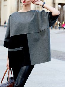 Grey Color Block Pockets Sweatshirt -SheIn(Sheinside)