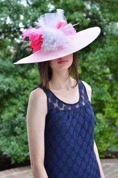 b064369a70f Light Pink Medium Brim Fashion Hat with White by HatsByChrissy