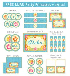 Free printable - vintage luau party pack