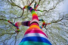 crocheted tree of color. Amazing!