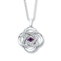 Colors In Rhythm Necklace Amethyst Sterling Silver Knot