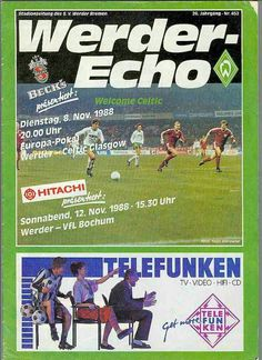 Werder Bremen 0 Celtic 0 (1-0 agg) in Nov 1988 in Bremen. The programme cover for the European Cup 2nd Round, 2nd Leg.