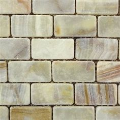 1 in. x 2 in. Multi Light Green Onyx Tumbled / Non Skid / Skid Resistant Brick Pattern Mosaic Tile #light_green_onyx #onyx_mosaic_tiles #onyx_mosaic