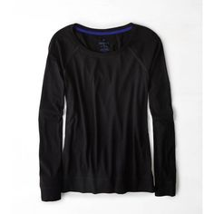 American Eagle Long Sleeve Favorite Raglan T-Shirt ($18) ❤ liked on Polyvore featuring tops, t-shirts, american eagle outfitters t shirts, raglan tees, long sleeve tees, american eagle outfitters and scoop-neck tees