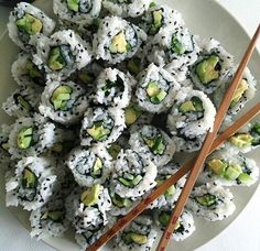 Sushi for breakfast sounds divine. My favorite (there are no rules with breakfast. I eat what I want when I want. In fact maybe Ill have toast for dinner) Think Food, I Love Food, Good Food, Yummy Food, Tasty, Clean Eating, Healthy Eating, Healthy Foods, Healthy Sushi
