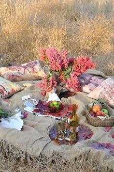 A picnic in the field.