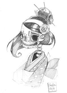 #Drawing #Calavera by Julien Monsta [=> https://www.behance.net/gallery/illustrations-2014-part-01/16032175 ]
