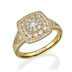 Unique Engagement Ring 14k yellow Gold With by gispandiamonds