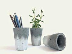 Concrete Cup for Succulent Cactus Grey Urban Industrial Planter Home Decor