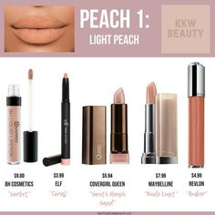 These are the top 5 drugstore dupes of 2018 for the KKW Beauty Peach Creme Lipsticks! Elf Lipstick, Lipsticks, Coral Lipstick, Covergirl, Revlon, Maybelline, Mascara, Beauty Dupes, Drugstore Beauty