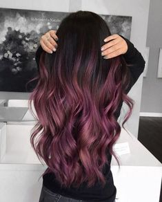 30 hair color trends should try in 2019 13 - Hair - Hair Styles 30 Hair Color, Hair Dye Colors, Ombre Hair Color, Hair Color Balayage, Purple Ombre, Purple Balayage, Short Balayage, Hair Color Ideas, Ombre Hair Brunette