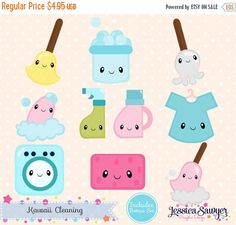 80% OFF - INSTANT DOWNLOAD - Kawaii Cleaning Clipart and Vectors for personal and commercial use