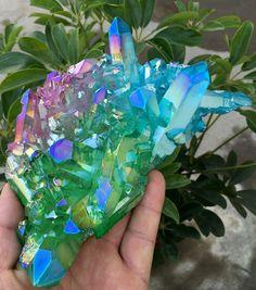 Three-Color Aura Quartz Crystal Titanium Bismuth Silicon Coated Cluster  421
