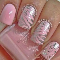 """If you're unfamiliar with nail trends and you hear the words """"coffin nails,"""" what comes to mind? It's not nails with coffins drawn on them. It's long nails with a square tip, and the look has. Get Nails, Fancy Nails, Love Nails, Pink Nails, How To Do Nails, Silver Nails, Silver Glitter, Metallic Pink, Style Nails"""