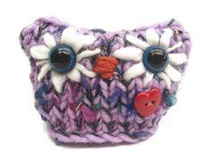Purple Knitted Owl Amigurumi Animal Handmade by LittleOwlsandPals