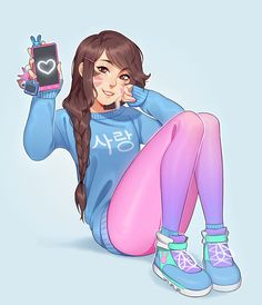 d.va in those amazing sneakers! - More at https://pinterest.com/supergirlsart #overwatch #dva #fanart