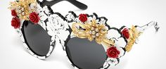 Mama's Brocade collection by Dolce & Gabbana: women's sunglasses and eyeglasses with oversize frame, red roses on the frontal and grey perls.