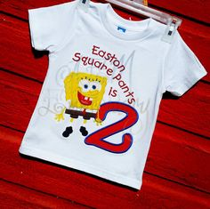 Spongebob Squarepants Birthday Number Applique  T by AEMembroidery