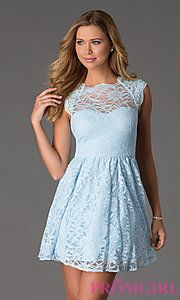 Buy Short Cap Sleeve Lace Dress at PromGirl