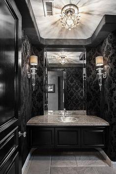 Chic and dramatic contemporary powder room in black - #powderroom #lighting