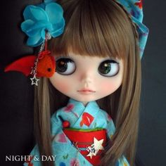 Kyohiro custom Blythe ☆ Night & Day ☆ goldfish yukata ♪  Buy her here:   #blythe #blythedolls #kawaii #cute #rinkya #japan #collectibles #neoblythe #customblythe