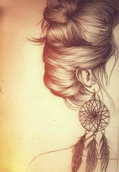 """That's a really good drawing of a dreamcatcher."" said someone. Well look at the rest of it! The hair is amazing!"