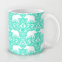 Elephant Damask Mint Mug by Jacqueline Maldonado | Society6