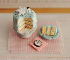 Miniature Christmas Cake With Light Blue by LittleThingsByAnna, $22.50