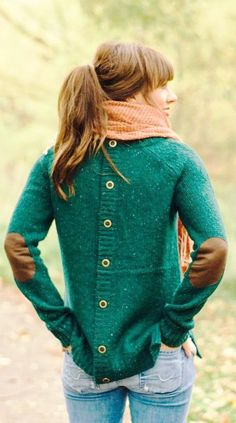 back button, elbow patch sweater
