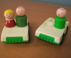 Two Vintage Fisher Price Little People vehicles and 3 figures – white and green two seater cars, 2 males, 1 girl by RetrowareExchange on Etsy