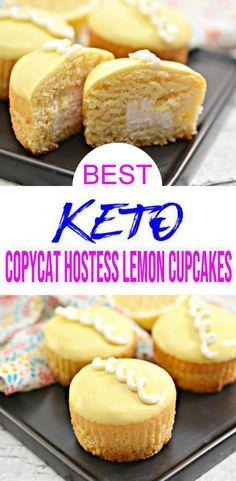 Lemon Cupcake Recipe Easy, Copycat Hostess Cupcake Recipe, Easy Cupcake Recipes, Diet Desserts, Low Carb Desserts, Low Carb Recipes, Healthy Recipes, Breakfast Pastries, Breakfast Dessert