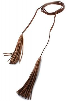 Leather Tassel Double Wrap Choker Necklace - Brown