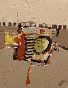 """John Hyche  """"Shaped Character""""  -  Mixed Media on canvas  8x10"""