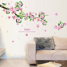 bird on the tree wall stickers Peach blossom decoration Branch adhesive vinyl #Affiliate