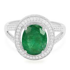 Bague pour femme sertie d'une émeraude de Sao Francisco et de diamants VS - Bijou en or blanc - Juwelo Bijouterie en Ligne