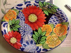 Damariscotta Pottery large oval platter painted by Juliana