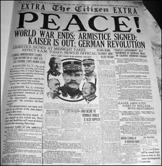 The Ottawa Citizen, Monday, November 11, 1918    The end of WWI.    Facsimile of an old newspaper front page, in: Golden Leaves from Canada's Past, 1867-1967, published by the Borough of Etobicoke's Centennial Committee, 1967.