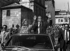León, fotos antiguas, plaza de San Marcelo, visita de los reyes de España, 1978