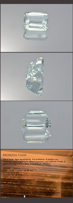Extra large  light Aquamarine. Top brilliance. A perfect cut, symmetry and proportions. A good price for a great gem!. Emerald cut. 19.63 ct.