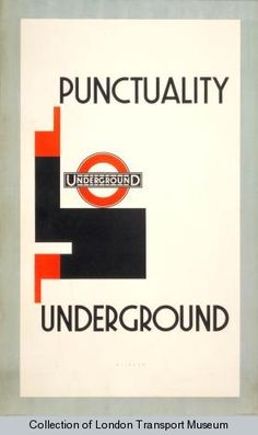 Punctuality, by Julius Klinger, 1929    Published by Underground Electric Railway Company Ltd, 1929  Printed by W & G Baird Ltd,  Format: Double royal  Dimensions: Width: 635mm, Height: 1016mm  Reference number: 1983/4/2845