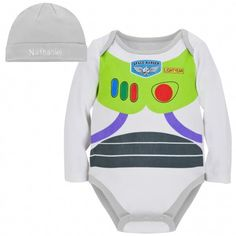 Personalizable Buzz Lightyear Costume Bodysuit and Cap. Super cute, I'm so excited that I'll have an infant to dress up for Halloween