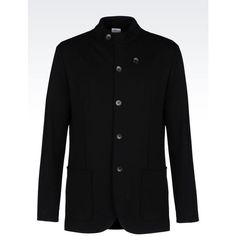 ARMANI COLLEZIONI Jacket In Interlock ($795) ❤ liked on Polyvore featuring men's fashion, men's clothing, men's outerwear, men's jackets, black y armani collezioni