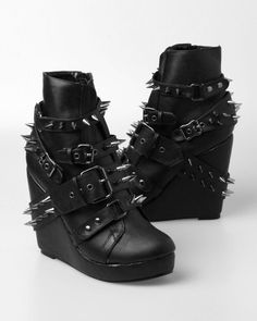 895ec1947e35cd Abbey Dawn By Avril Lavigne 109 Spiked Studded Wedge Booties Abbey Dawn