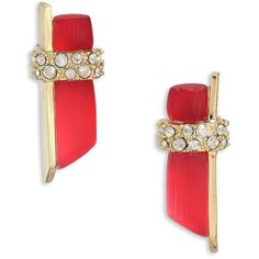 Alexis Bittar Lucite Pave Wrapped Stud Earrings ($130) ❤ liked on Polyvore featuring jewelry, earrings, apparel & accessories, red, wrap earrings, red earrings, acrylic jewelry, lucite jewelry and swarovski crystal stud earrings